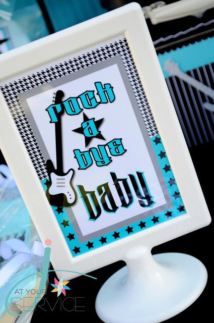 """Photo 17 of 40: Rock n Roll, Guitar, Boy / Baby Shower/Sip & See """"Rock A Bye Baby Shower"""" 