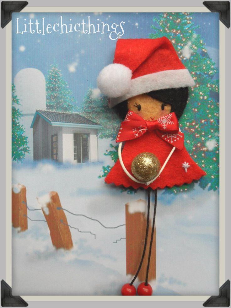 Christmas felt brooch Littlechicthings