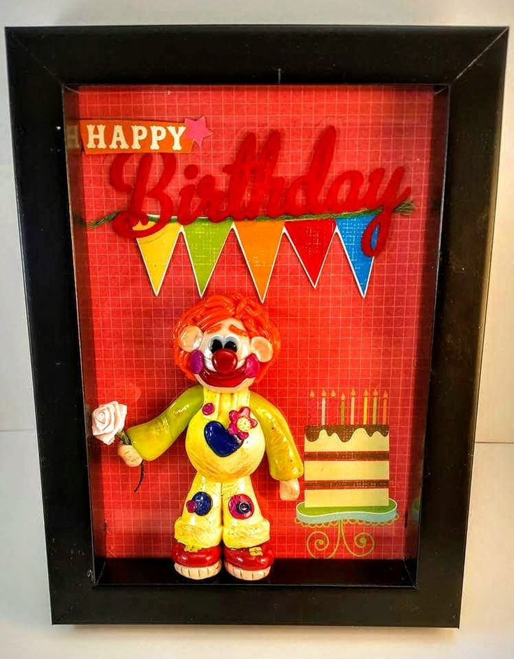 handmade polymer clay happy birthday clown birthday card photo frame home decor unique gift picture frame birthday gift sculpture by 2BloominSisters on Etsy