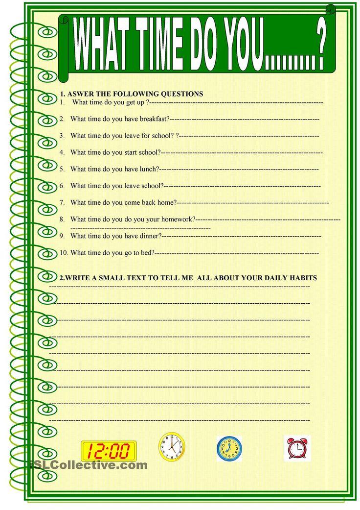 What Time Do You Esl Worksheet Esl Worksheet Of The