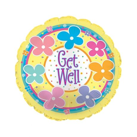 #Bunches.co.uk Get Well Soon Balloon BGWS #Cheer someone up with this fun 18 Get Well Soon helium balloon, featuring the text Get Well. Our get well balloons are delivered inflated with a ribbon and a weight in our custom helium balloon delivery boxes, allowing this get well soon balloon to float out of the box when opened.