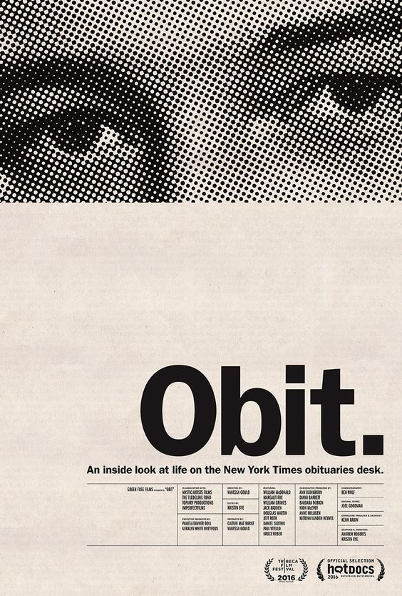 "The poster is balanced with tension as the body copy is right aligned towards to bottom right corner and the image is heavy up the top with a lot of negative space in between. There is contrast as the ""Obit"" is large in comparison to the rest of the text as well as the black an white image which stands out against the white space. Hierarchy is shown through the size and placement the Obit and the image which then draw your attention down to the smaller text on the bottom."