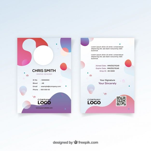 Abstract Id Card Template With Flat Design Free Vector Id Card