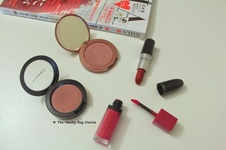 It  can be bit of a struggle sometimes to choose a blush with bold/bright lipsticks.  In today's post I will be sharingmy current favorite bold lip and  cheek duo.Clockwise (from top) Tarte Exposed, MAC Ruby Woo, Bourjois Ole Flamingo and MAC BlushbabyBourjois Rouge Velvet Edition Ole Flamingo with