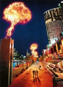 Southbank at night - great restaurants and atmosphere. Warm up by the night flames along the Yarra River.