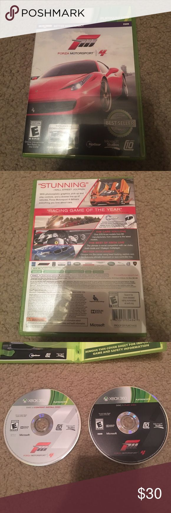 Forza motor sport 4 XBOX 360 The game was only used a few times and is still in brand new condition. Really fun and comes with two discs and they still work. xbox 360 Other
