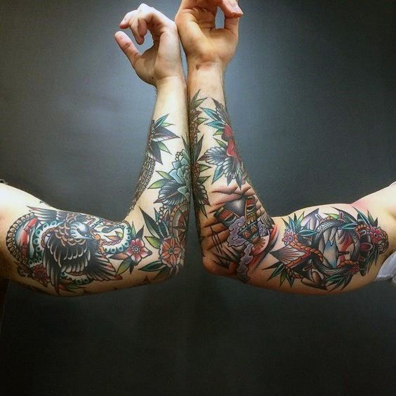 Traditional American Tattoo Sleeve Men