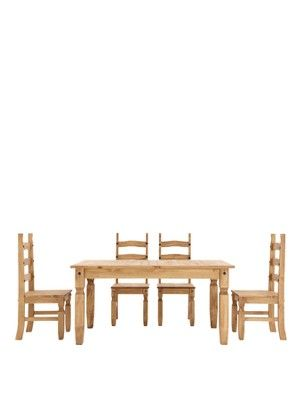Corona 140 Cm Solid Pine Dining Table + 4 Chairs