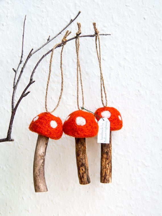 Felted Mushroom Ornaments with Twine Hangers - Set of 3 Red Felted Waldorf Toadstools Upcycled Woodland Waldorf Inspired Rustic Christmas. €13.00, via Etsy.