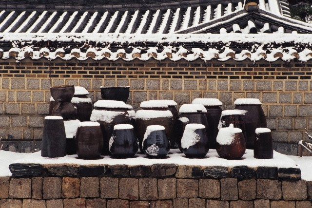 Kimchee pots in winter Hangari