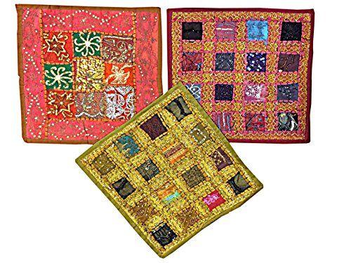 "Indian Cushion Covers Vintage Patchwork Sari Throw Pillowcases 16"" X 16"" Set of 3 Pcs"