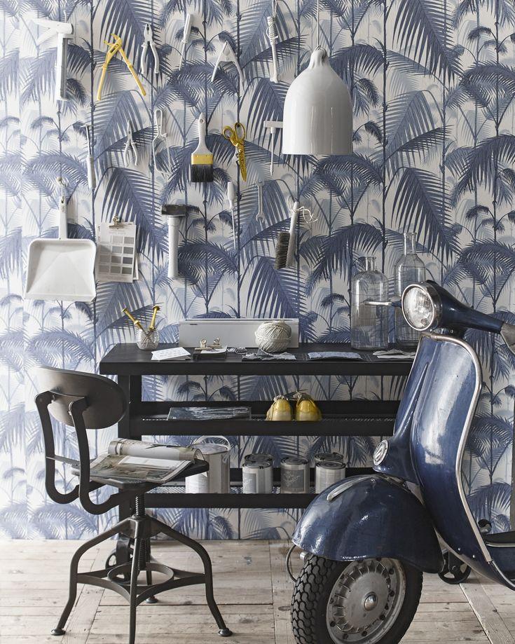 Werkplaats blauw/wit behang