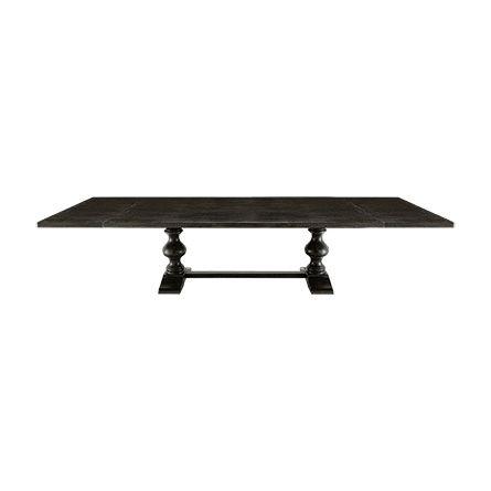 Tuscany Ext 78 X 44 Worn Black Rectangle Trestle Dining Table