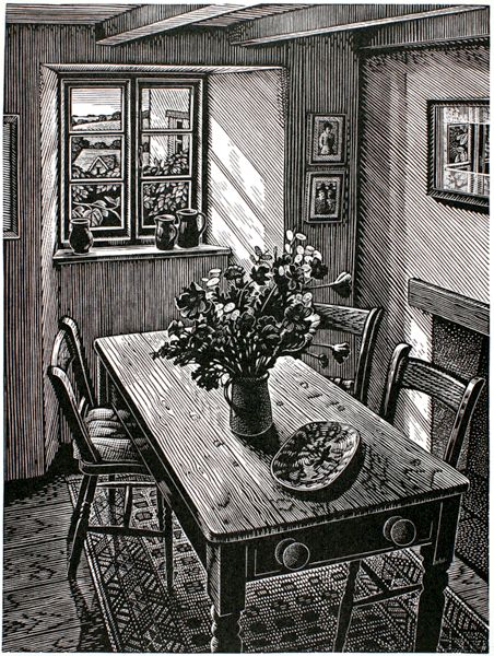 Howard Phipps. Cottage Interior, Cornwall. (wood engraving)
