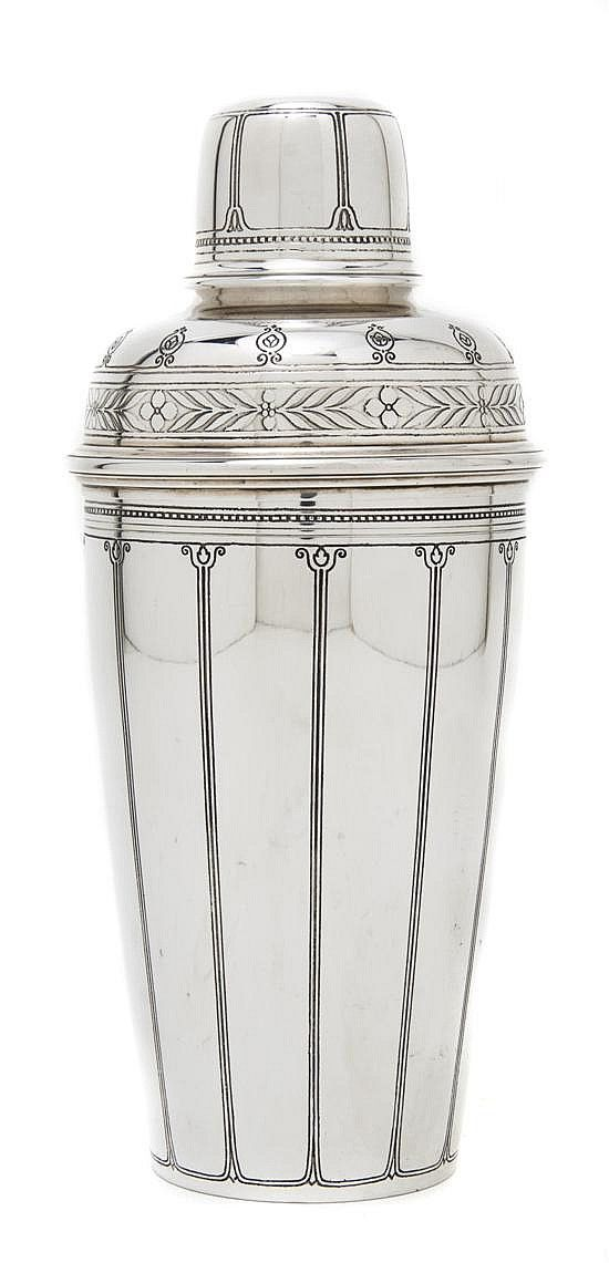 *An American Sterling Silver Cocktail Shaker, Tiffany  Co., Height 9 inches.