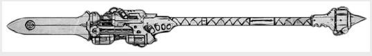 Iron Snakes Sea Lance.  The Iron Snakes take their name from the giant sea serpents called Water Wyrms that inhabit their homeworld of Ithaka's vast oceans. One of the Chapter's most important rites of passage is to hunt and kill one of these leviathans using a type of weapon called a Sea Lance.