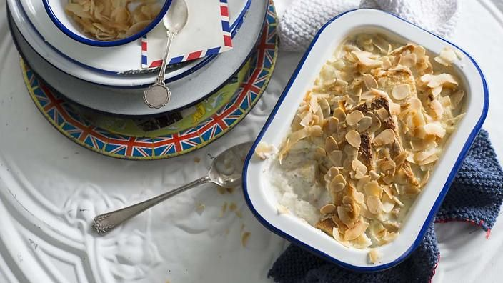 A classic banana cake from Saigon inspired this Vietnamese coconut bread and butter pudding. It's light and not overly sweet. #LukeNguyensUK