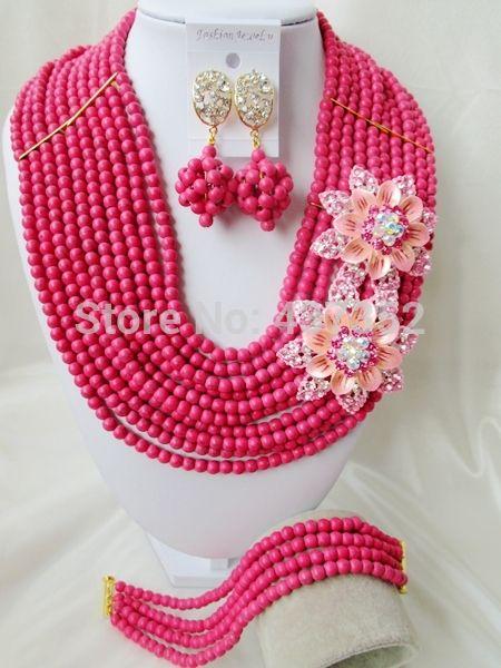 Чудесные С Двойные Броши Розовый Бирюзовый Бисером Нигерийские Свадебные Бусы Африканские Бусы Комплект Ювелирных Изделий TJS-352