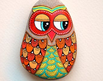 Hand Painted Stone OWL Pendant by ISassiDellAdriatico on Etsy