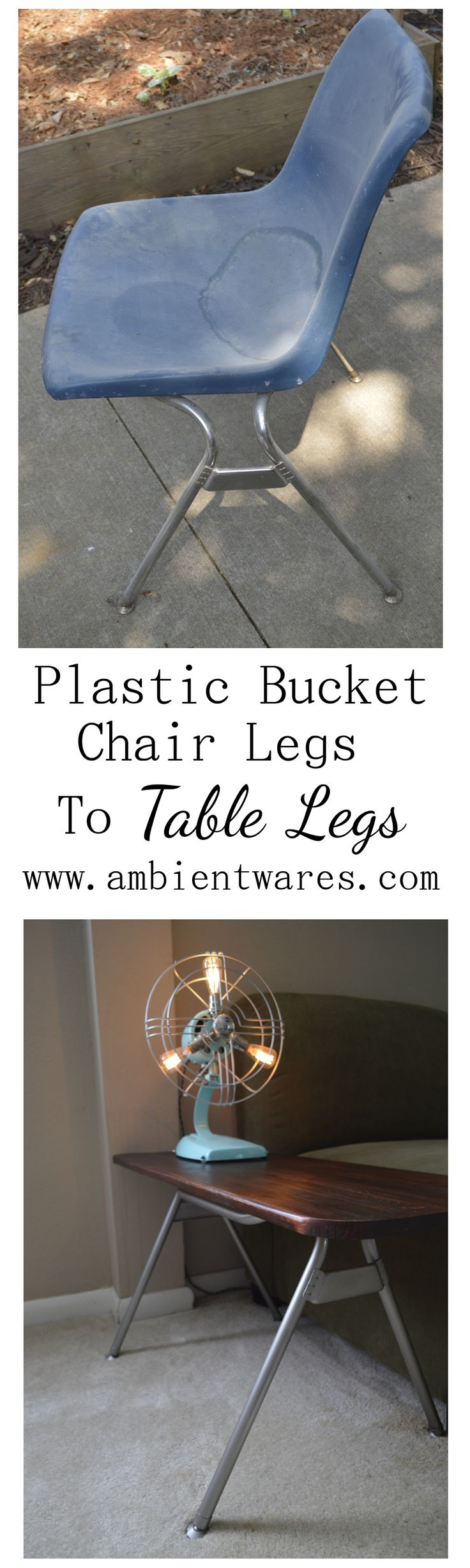 Have you ever thought to use the metal legs from those old plastic bucket chairs and repurpose them into a unique side table? This gal did! ambientwares.com