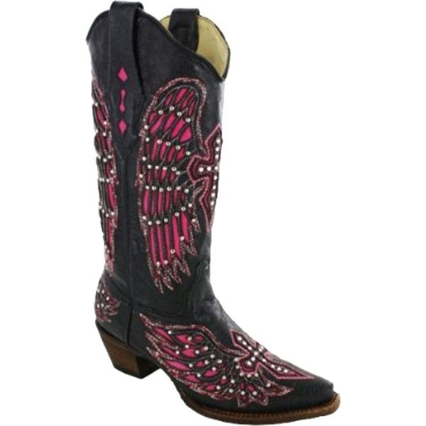 Pre-owned Corral 1048 Black/pink Boots ($325) ❤ liked on Polyvore featuring shoes, boots, corral boots, cross boots, crystal boots, handcrafted shoes and black shoes
