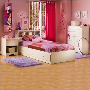 Amazon.com: South Shore Crystal White Kids Twin Wood Captain's Storage Bed 3 Piece Bedroom Set: Furniture & Decor