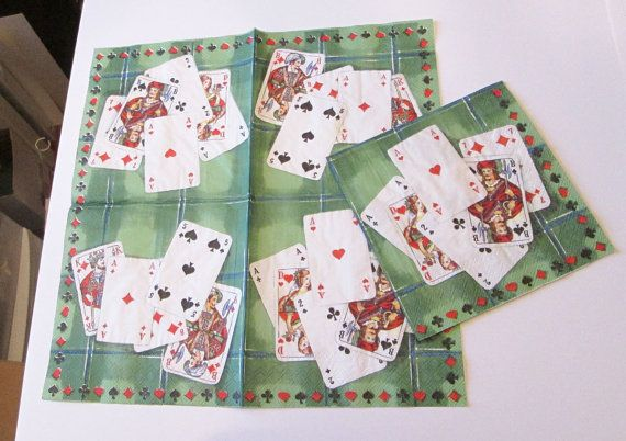 5 New German retro playing cards poker ace spades diamonds clubs bridge game room decoupage collage party napkins arts paper crafts lot