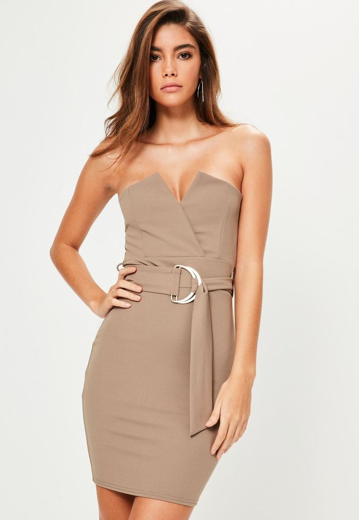 Missguided - Brown Bandeau V Bar D Ring Belted Bodycon Dress