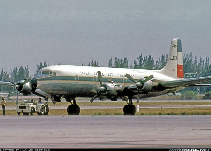 Douglas DC-6B(F) CC-CCI (cn 45515/1022) Built as a passenger DC-6B for LAN Chile in September 1958 as CC-CLDF. Re-registered CC-CCI and bought by LASA in February 1973. Converted for freight with large rear cargo door. To N37614 in April 1980.