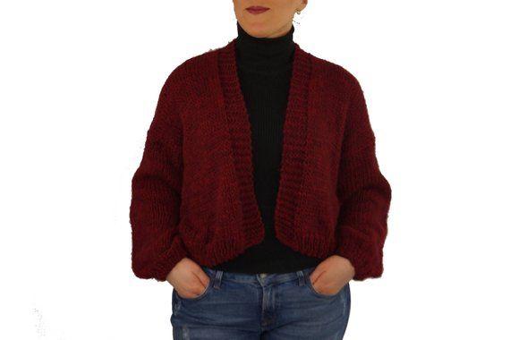 Hand knit sweaters/Burgundy sweaters women/Jacket/Cardigans/Wool coats women/Plus size sweater/Knit alpaca sweater/Sweaters for women 5