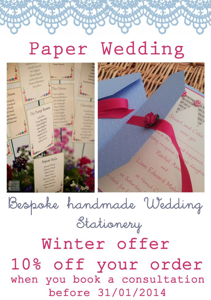 Take advantage of our 10% off winter offer when you book before 31/1/2014. Visit www.paperwedding.co.uk or www.facebook.com/paperwedding