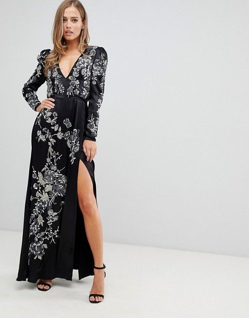 477ced59310 EDITION satin maxi dress with jewelled floral embellishment ...