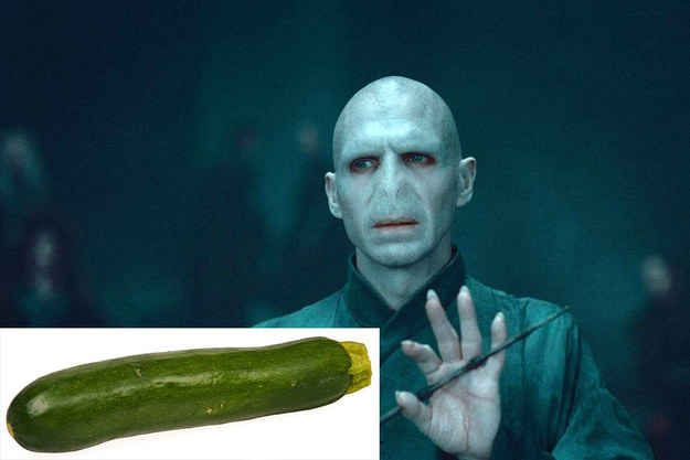 We know Lord Voldemort would be a zucchini. Yes, very much a zucchini.