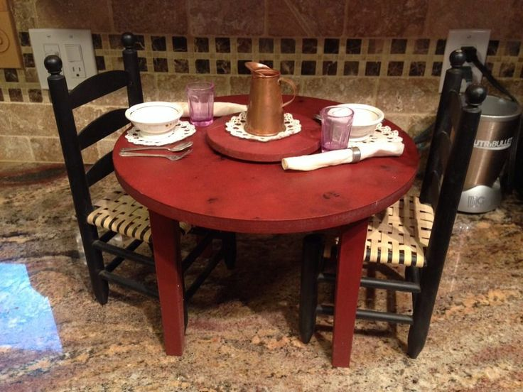 american girl pleasant company addy lazy susan table and chairs american girl addy 1864. Black Bedroom Furniture Sets. Home Design Ideas