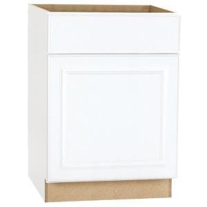 Hampton Bay Hampton Assembled 24x34.5x24 In. Base Kitchen Cabinet With  Ball Bearing Drawer Glides In Satin White. Home Depot ...