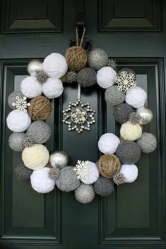Yarn wrapped styrofoam ball wreath