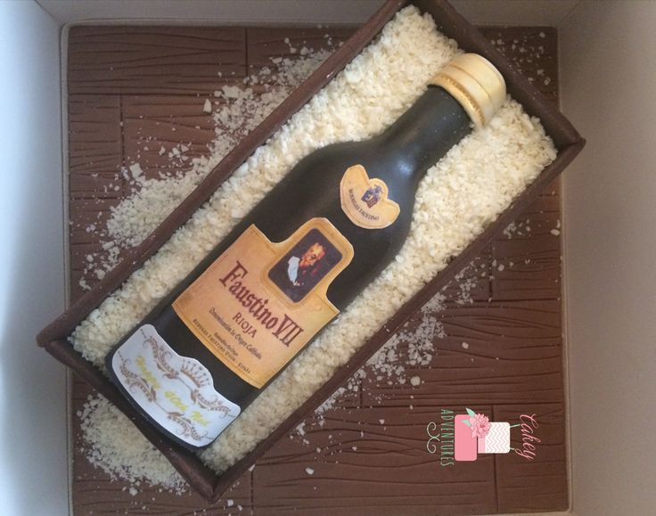 Wine bottle in a box cake (all edible) x