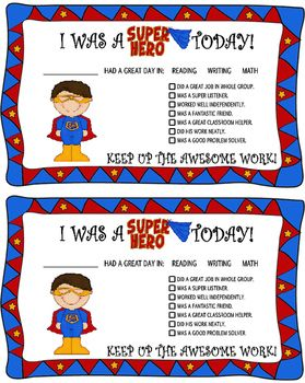 These fun Super Hero themed positive parent contacts are a great and quick way to stay in contact with your parents. These come pre-designed for both boys and girls for that personal feeling and in color and black and white for your printing preference.