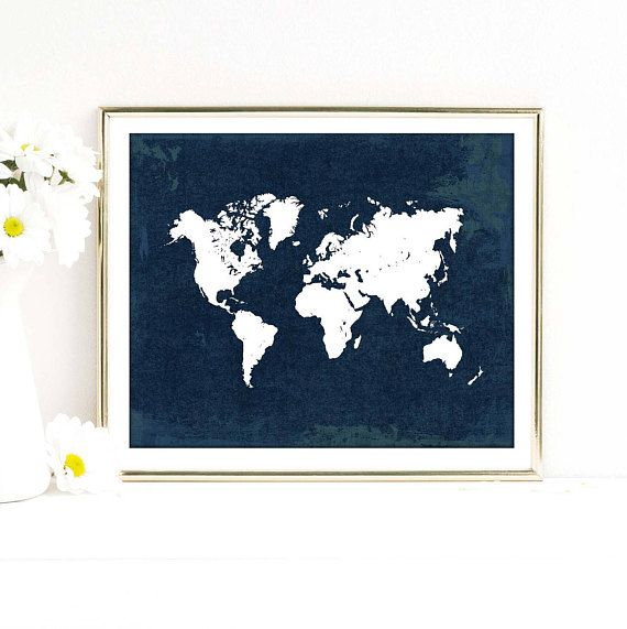 Adventure awaits! World map poster in white and distressed navy blue tones.  This listing is for a digital file only, no physical product will be shipped. Instant downloads are awesome if you want to print them at home or have them professionally printed at your own convenience. Just download the files and print as many times as you want to.  4 JPE files are included: - 5 x 7 inches - 8 x 10 inches - 11 x 14 inches - 16 x 20 inches  After you complete your purchase, your files will instantly…