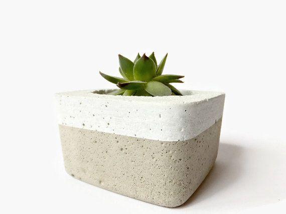Small Square Concrete White Planter for Succulent Cacti Pot Modern Industrial Home Decor