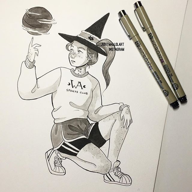 Instagram photo by juditmallolart - Inktober day 22✨ Sports witch  #inktober #inktober2017