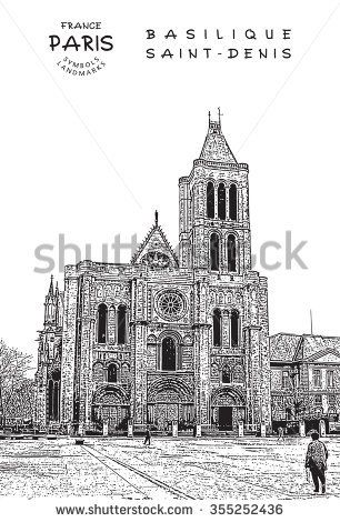 Paris - France. Basilica of Saint Denis - First Gothic Church. Vector illustration.