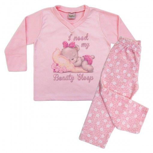 Compre Pijama infantil menina em soft, da Kiko e kika. Em Sofr blusa com estampa de ursinha dormindo e Calça com estampa floral R$ 52,00 pague 3x sem juros
