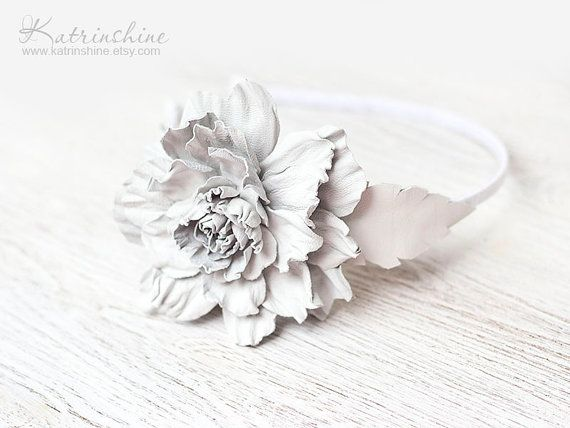 White leather flower headband fascinator wedding