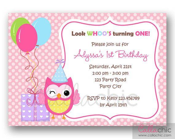 Buho 1 invitación de cumpleaños para imprimir - niña / niño 1er cumpleaños fiesta invitación ...