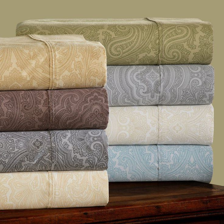 Impressions Cotton Rich 600TC Italian Paisley Sheet Set Sage, Size: Full