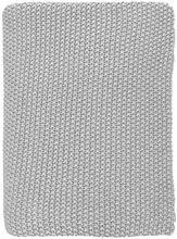 Plaid/tæppe i tykt strik. Kan bl.a. fås i H&M til omkring 500 kr. I en gråligfarve