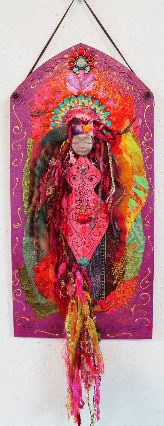 OOAK Goddess, Soul Goddess,Goddess wall hanging,clay goddess,Goddess Shrine, Goddess of Blessings, Art doll, fantasy doll, Hippie goddess