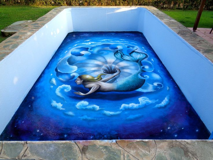 A Hole In The Water This is a swimming pool 3d painting project called 'A Hole in the water' ,  painted with colors suitable for swimming pools and exterior wall surfaces. Dimensions: 10 meters x 6 meters Track: Technical Difficulties - Racer X / Paul Gilbert Guest Star: Mandara