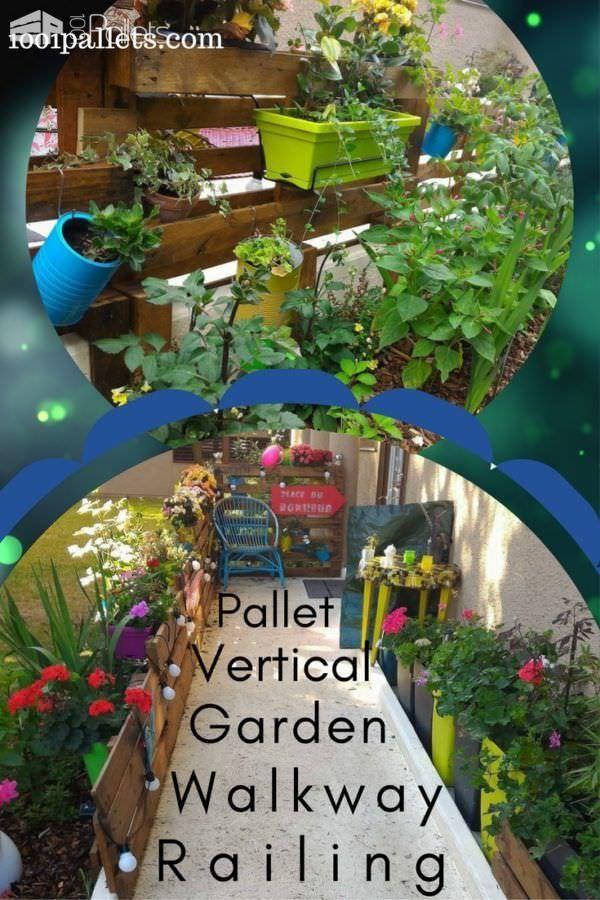 Vertical Pallet Garden Railing Along Our Access Ramp
